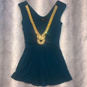 Teal Top With Gold Embellishment